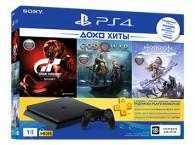 Игровая приставка Sony PS4 (1Tb) в комплекте с тремя играми GTS, HorizonZeroDawn, GOW